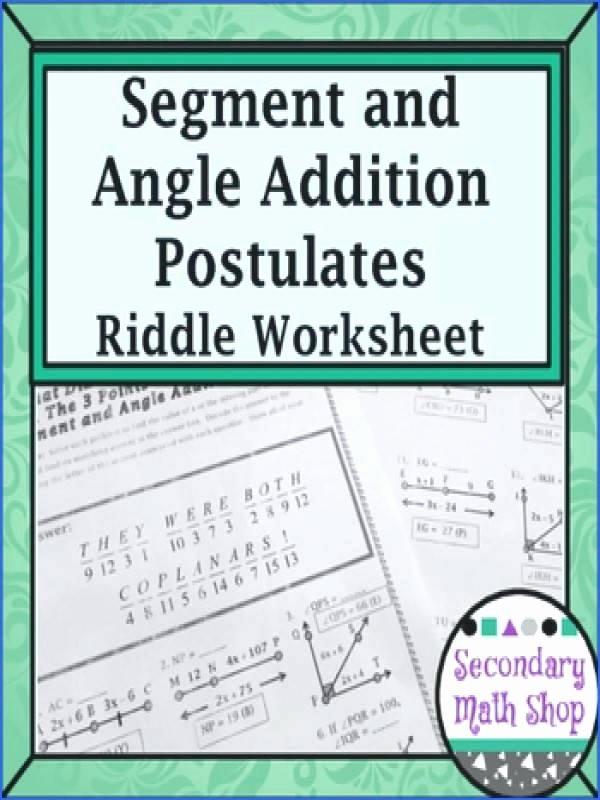 angle addition math segment addition and angle addition postulates riddle worksheet angle addition postulate definition math