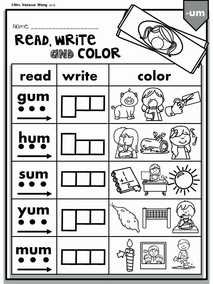 phonics short vowels read write color kindergarten first cvc words preschool worksheets fun activity to learn