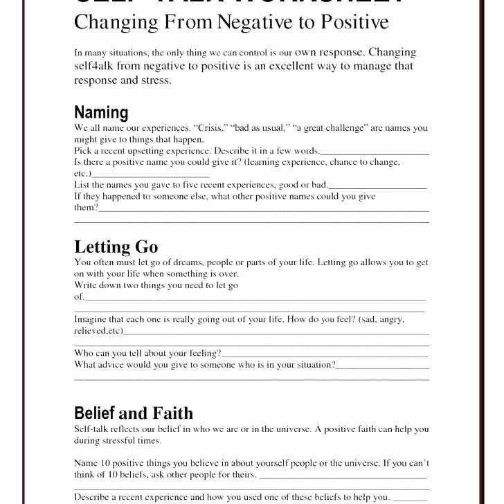 Self Control Worksheets Increasing Self Esteem Worksheets