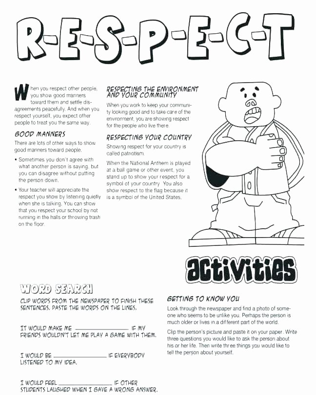 Self Control Worksheets Printable Worksheets for Elementary Students