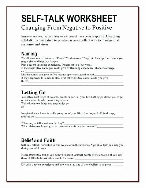 Self Control Worksheets Self Esteem Journal Template Changing thought Patterns
