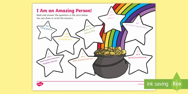 Self Esteem Activities Worksheets I Am An Amazing Person Worksheet Young People