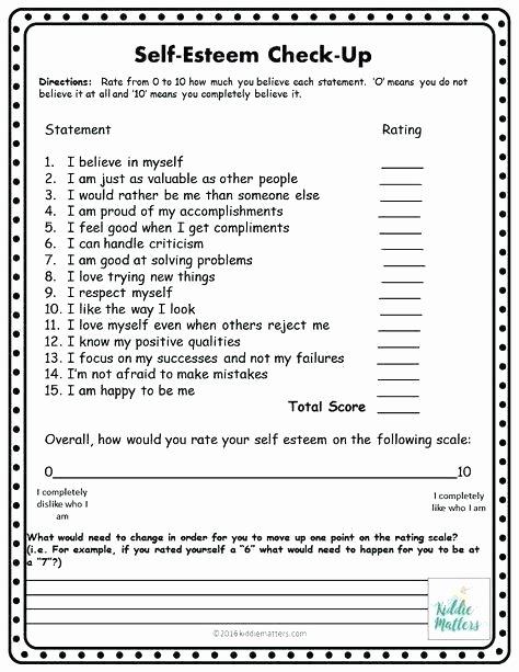 Self Esteem Worksheets Adults Confidence Worksheets for Students Positive Self Esteem