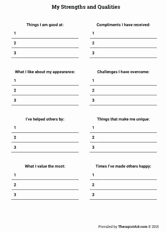 Self Esteem Worksheets for Adults Improving Self Esteem Worksheets – Onlineoutlet