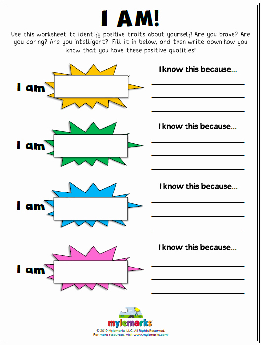 Self Esteem Worksheets for Adults Self Esteem and Confidence Building Worksheets for Kids and