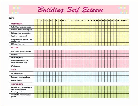 Self Esteem Worksheets for Adults Self Esteem Building Tracker Journal Printable Graph Mental