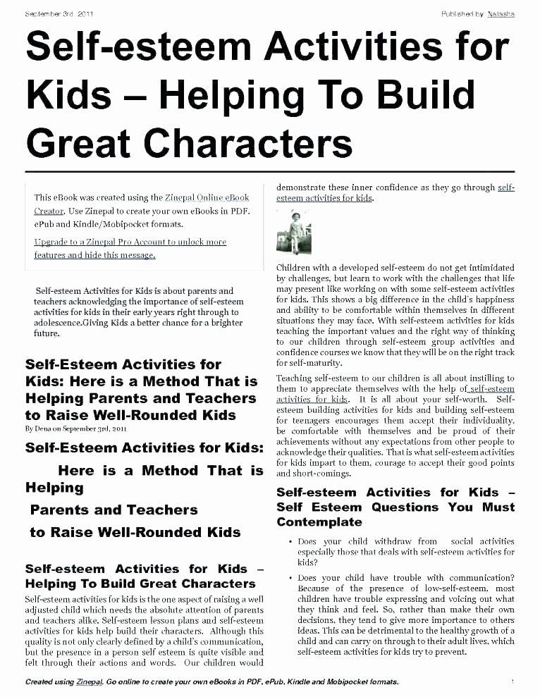 Self Esteem Worksheets for Girls Self Esteem Printable Worksheets