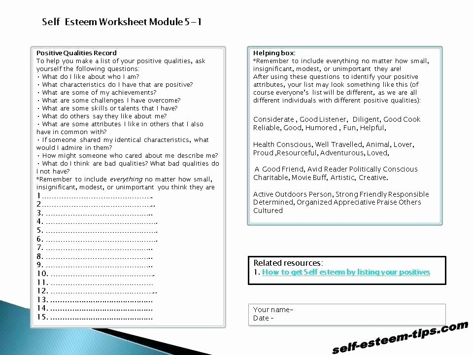 Self Esteem Worksheets for Teenagers Inspirational Self Esteem Worksheets and Activities for Teens Adults Activity