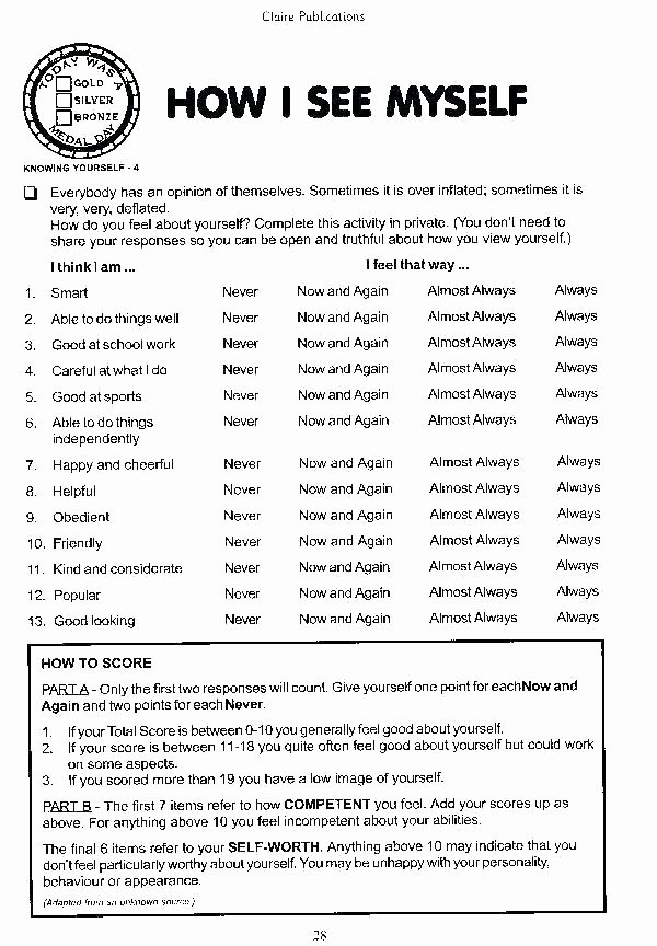 Self Esteem Worksheets for Teens Self Esteem Worksheets for Elementary Students