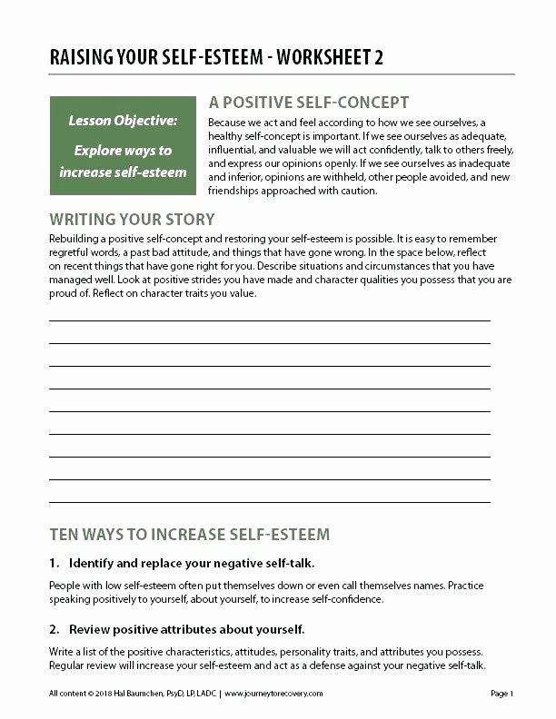 Self Esteem Worksheets Girls Improving Self Esteem Worksheets Building Self Esteem