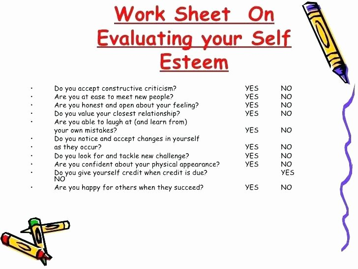 Self Esteem Worksheets Girls Positive Self Esteem Worksheets for Teens Confidence and