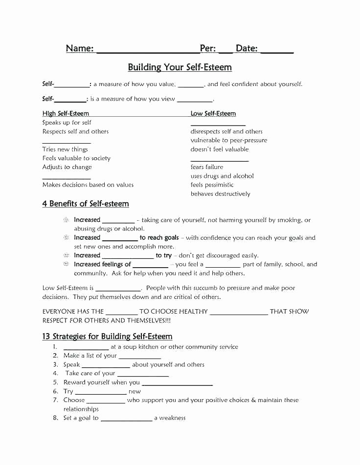 Self Esteem Worksheets Girls Self Esteem Worksheets for Girls