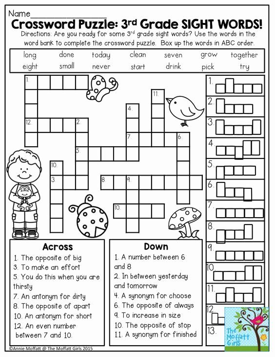 Sense Of Sight Worksheets Crossword Puzzle 3rd Grade Sight Words Great Introduction