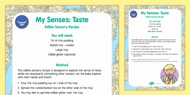 Sense Of Taste Worksheets My Senses Taste Edible Sensory Recipe