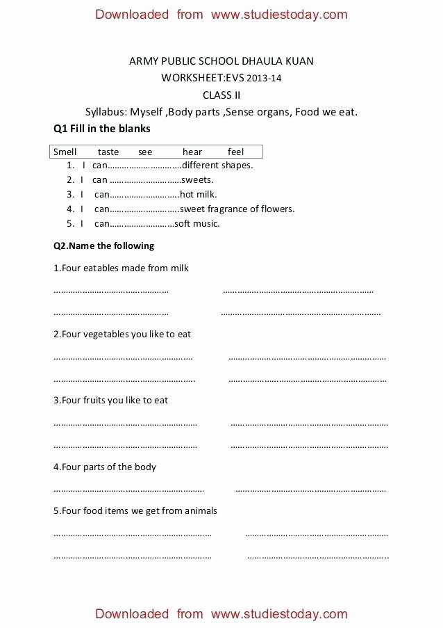 Sense organs Worksheets Class 2 Practice Worksheets Myself Body Parts Ncert Evs