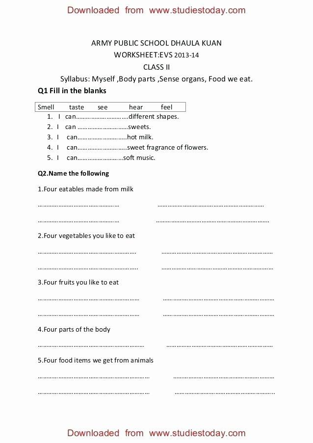 Sense organs Worksheets Class 2 Practice Worksheets Myself Body Parts Ncert Evs