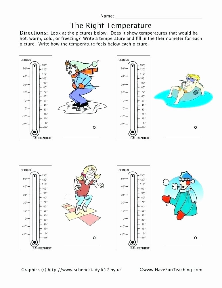 Sense organs Worksheets Printable Temperature Worksheets Reading thermometers Free A