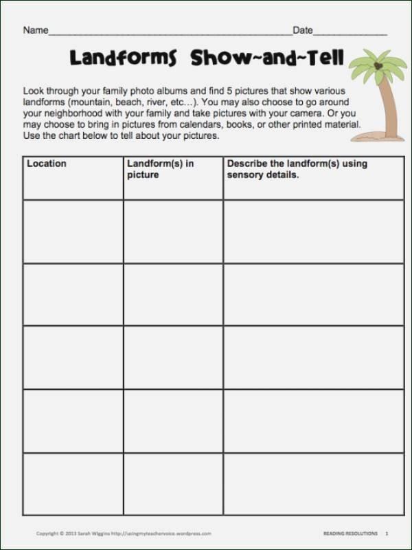 Sensory Detail Worksheet Landforms Worksheets