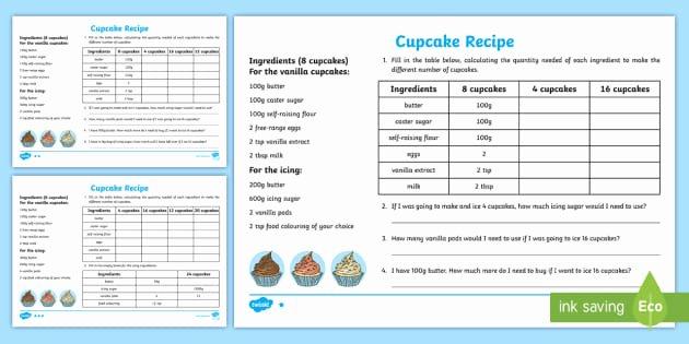 Sensory Detail Worksheet Uks2 Cupcake Recipe Worksheet