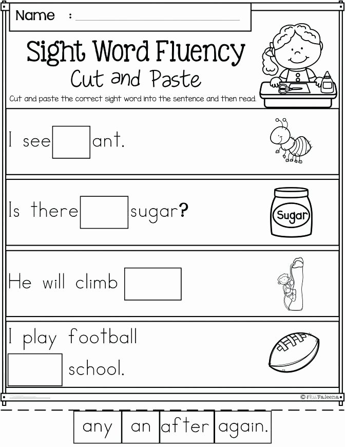 Sentence Fluency Worksheets Sight Word Fluency Worksheets