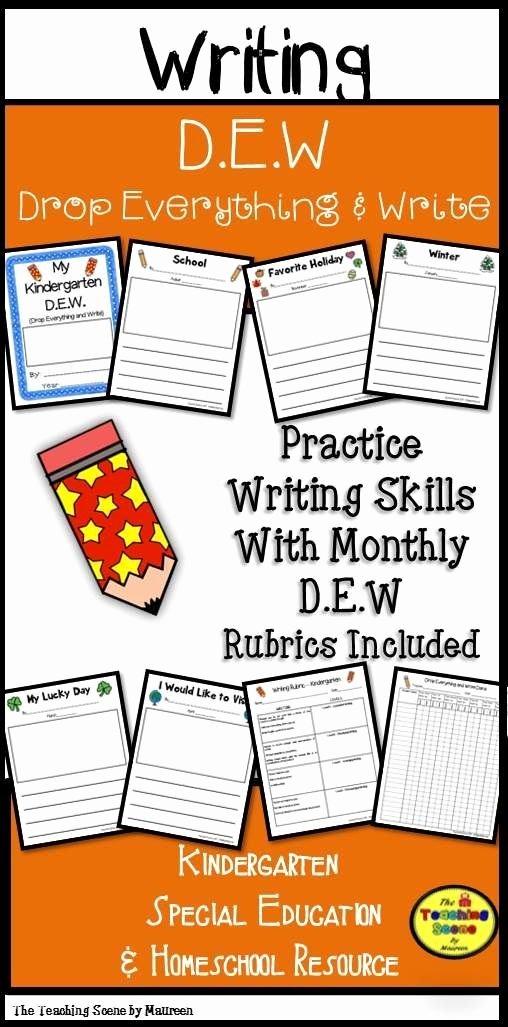Sentence Starters for Kindergarten Beautiful Kindergarten Year Long D E W Drop Everything & Write