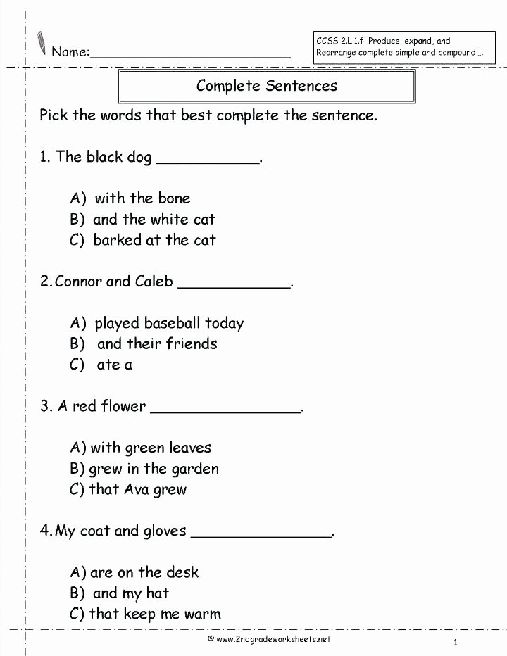 Sentence Worksheets First Grade First Grade Writing Worksheets 6 Math Cover Printable