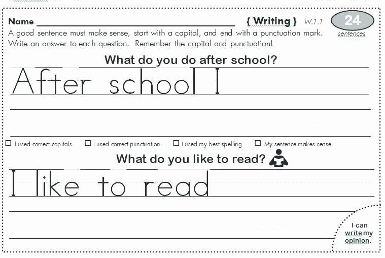 Sentence Worksheets for First Grade Grade Spelling Worksheets First Language Arts Practice