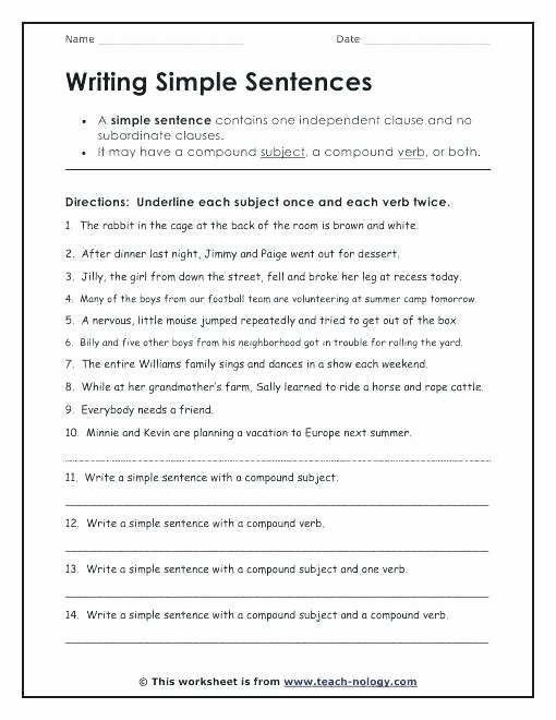 Sentence Worksheets for First Grade Sentence Building Worksheets for First Grade Writing Simple