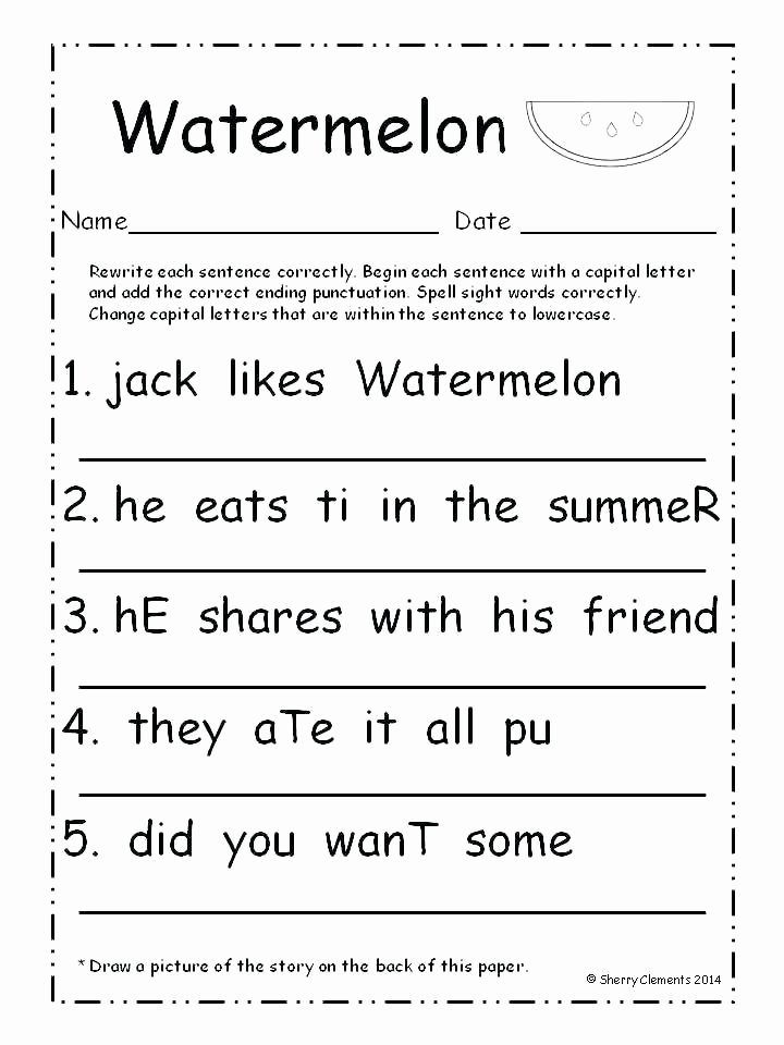 Sentence Worksheets for First Grade Sentence Writing Worksheets First Grade – Deglossed