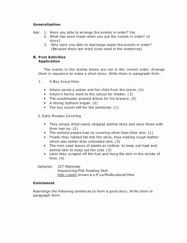 Sequence events Worksheets 2nd Grade Enrichment Worksheets