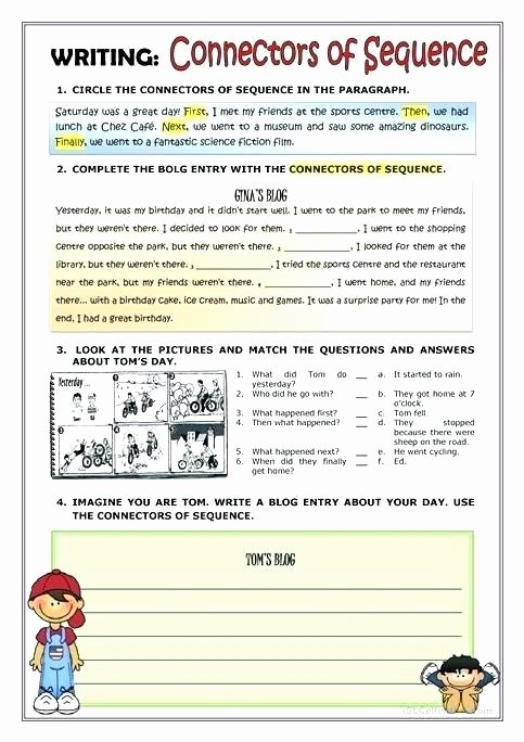 Sequence Story Worksheets Descriptive Writing Worksheets for Grade 6 Fiction Practice
