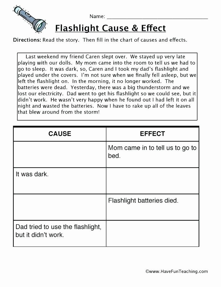 Sequence Worksheets 4th Grade Sequencing Story Worksheets Flashlight Cause and Effect