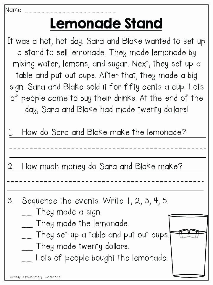 Sequencing Worksheet First Grade 4 Grade Reading Prehension Worksheets Sequencing