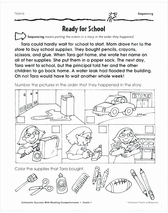 Sequencing Worksheets 2nd Grade Art Worksheets for Grade 1
