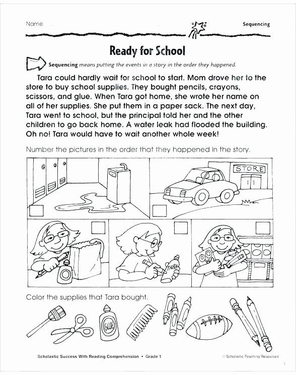 Sequencing Worksheets 2nd Grade Art Worksheets for Grade 1