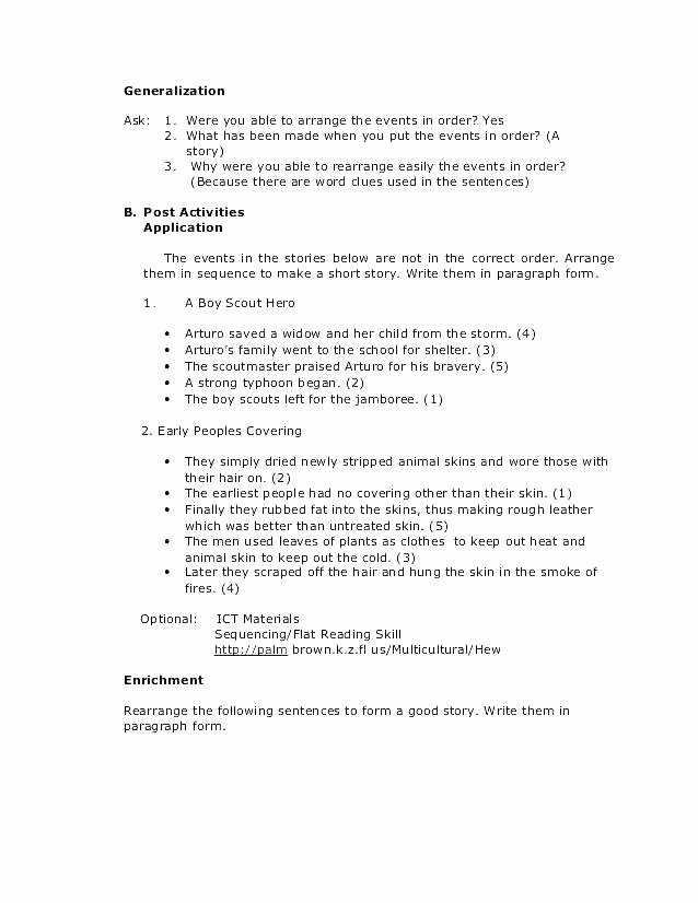 Sequencing Worksheets 4th Grade Sequence events Worksheets Grade Sequence Worksheets