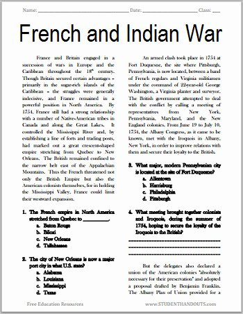 printable reading prehension worksheets 10th grade fresh the french and indian war free printable american history reading of printable reading prehension worksheets 10th grade
