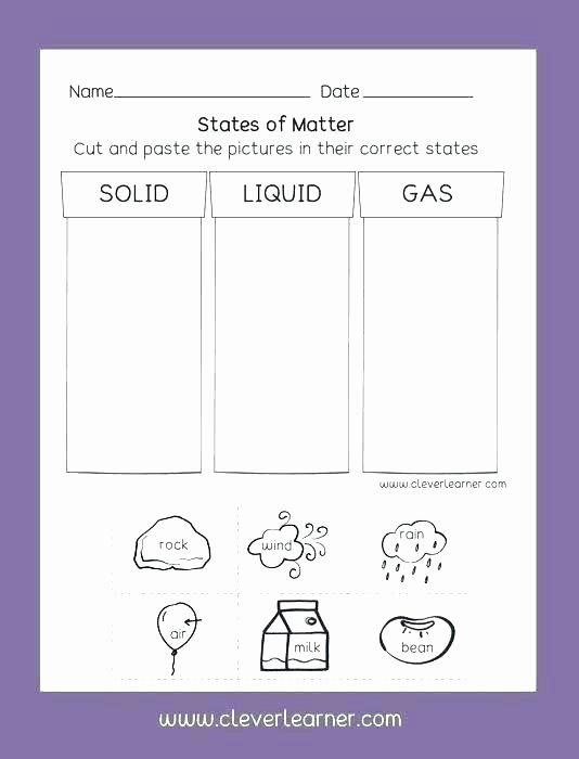 Seventh Grade Science Worksheets Third Grade Science Worksheets Matter 7 Activity States 6