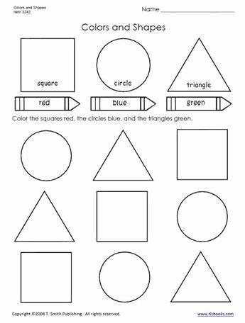 Shapes Worksheet for Kindergarten Colors and Shapes Worksheet From Tlsbooks
