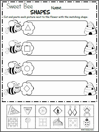 Shapes Worksheet for Kindergarten Sweet Bee Shapes Free Kindergarten Shapes Worksheet