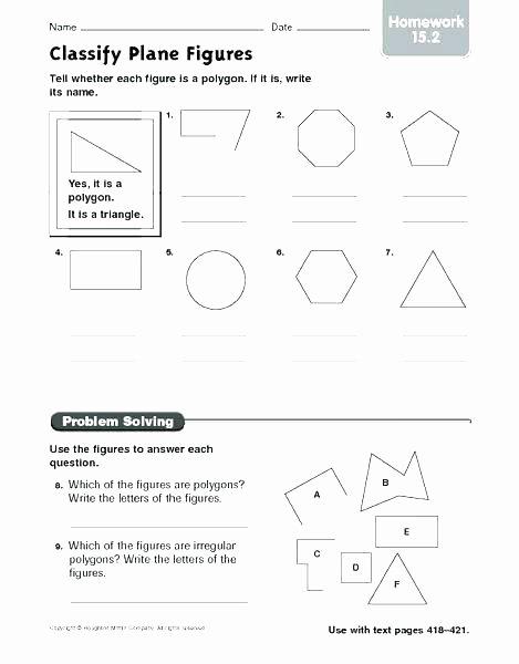 Shapes Worksheets 1st Grade Plane Figures Worksheets Grade Shapes Worksheets Elegant
