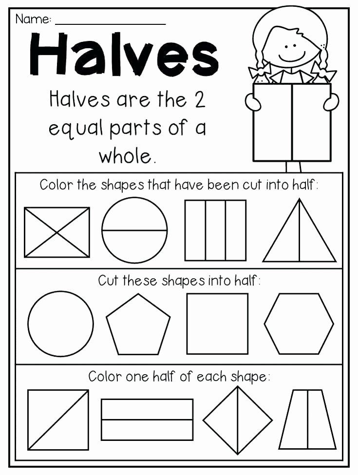 Shapes Worksheets 1st Grade Quarters Fraction First Grade Via Math Second Worksheet Free