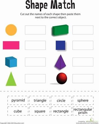 Shapes Worksheets 1st Grade Shape Match Math