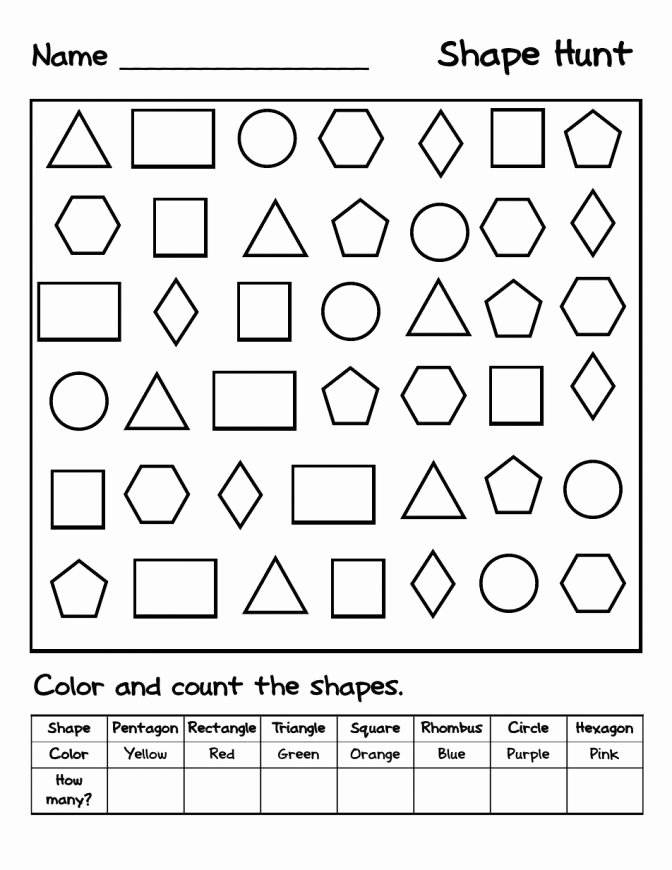 Shapes Worksheets for Kindergarten Pdf Identify and Color the Correct Shape Colorful Printable Kids