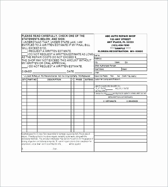 Shopping Math Worksheet Graphing Auto Repair Estimate Template form with Free