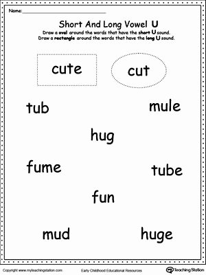 Short Vowel Worksheet Kindergarten Vowels Short or Long U sound Words Phonics