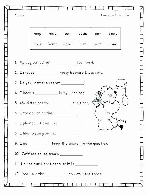Short Vowel Worksheets 2nd Grade Phonics Worksheets Grade 1 Worksheet for 4 Printable