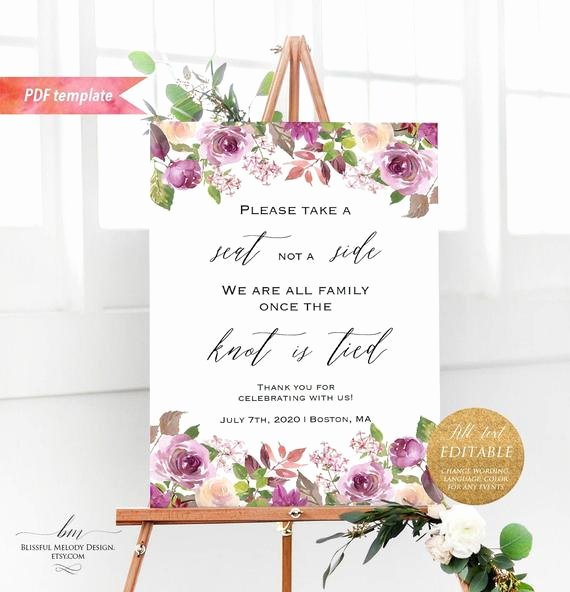 Sign Language Poster Printable All Text Editble Lilac Purple Floral Wel E Sign Printable