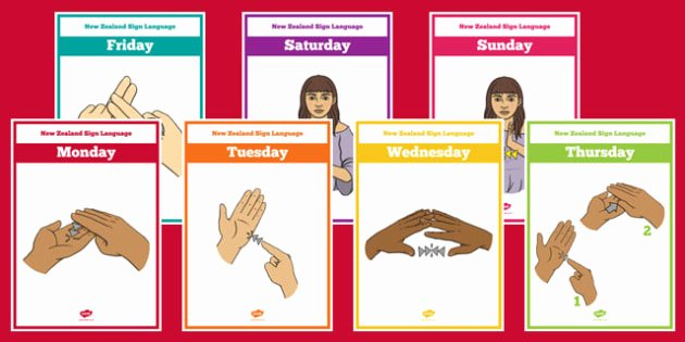 Sign Language Poster Printable New Zealand Sign Language Days Of the Week Display Posters