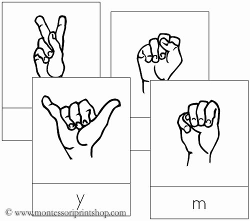 Sign Language Worksheets for Beginners American Sign Language Letter Cards Printable Montessori